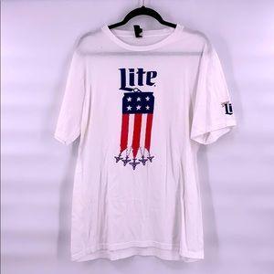 Miller lite beer t shirt white flag size XL